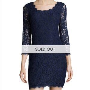 DVF Zarita Lace Dress - Midnight Blue